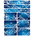 blue floral backgrounds vector image vector image