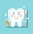cute cartoon tooth character brushing and holding vector image