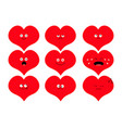 cute heart shape emoji set funny kawaii cartoon vector image
