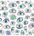 Hand drawn abstract eyes pattern sight seamless vector image