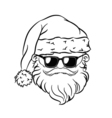 Hipster Santa Claus Head Sunglasses vector image