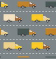 seamless pattern with trucks on the road vector image