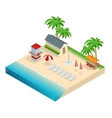 Summer travel concept On the beach Flat 3d vector image
