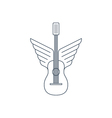 Rock guitar acoustic music thin lines icon and vector image