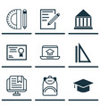 set of 9 education icons includes paper e-study vector image