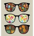 Retro sunglasses with nature reflection in it vector image