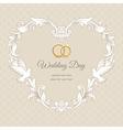 Wedding heart frame gold vector image vector image