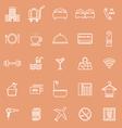 Hotel line icons on orange background vector image