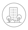 Residential building with trees line icon vector image vector image