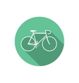 Flat Style Bicycle Inside Round Green Icon vector image