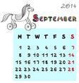 horse calendar 2014 september vector image