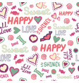 seamless pattern doodle hearts love happy sweet vector image