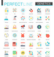 set of flat biochemistry genetics icons vector image