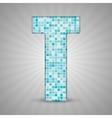 Alphabet Blue tile figure letter and sing vector image