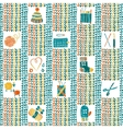 Knitted seamless pattern with knitting accessories vector image