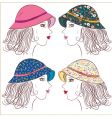 fashion girls in panamas vector image