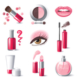 Glamourous make-up icons set - vector image