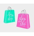 Lettering on shopping bag shape vector image