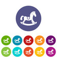 toy horse icons set flat vector image