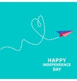 Paper plane with heart Dash line Happy vector image