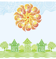 Sun and houses vector image vector image