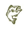 Bass fish logo vector image