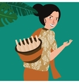 woman bring traditional drink in Indonesia vector image