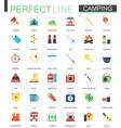 set of flat camping hiking icons vector image