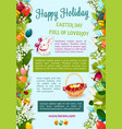 easter day happy holiday greeting poster template vector image