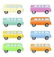set of colorful retro travel buses cartoon hippie vector image
