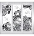 set of grey decorative flower template banner vector image vector image