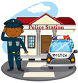 Policeman saluting in front of police station vector image