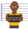 arrested african american man posing for mugshot vector image