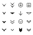 black Arrow buttons down icon set vector image