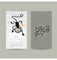 Calendar grid design Monkey symbol of year 2016 vector image