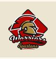 colorful logo emblem spartan helmet and cloak vector image