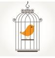 Cute bird in birdcage vector image