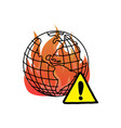 global warming with warning sign vector image