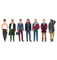 Handsome and stylish men set cartoon guys male vector image
