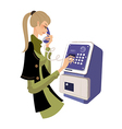Holding telephone vector image
