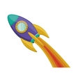 silhouette purple rocket with wake of fire vector image