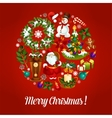 Christmas greeting card with xmas symbols circle vector image vector image