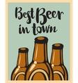 three bottles beer vector image vector image