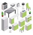 3d room design isometric furniture set for vector image