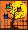 halloween owls in tree vector image