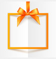 Orange gift box frame with silky bow and ribbon on vector image vector image