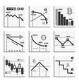 bitcoin falling down chart graphics set vector image