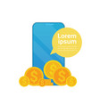 digital wallet app coins falling from cell smart vector image