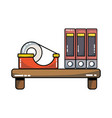 wood shelf with books and adhesive tape vector image