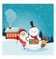 santa elf snowman icon Merry Christmas design vector image